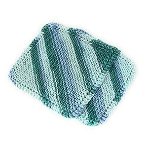dicke Waschlappen, Spüllappen und Topflappen zugleich, handgestrickt ca. 18 x 18 cm 100% Baumwolle
