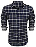 Coofandy Herren Hemd Slim Fit Kariert Freizeithemd Party Club Manschette mit Stickerei Langarmhemd Business Casual bügelleicht Blau S