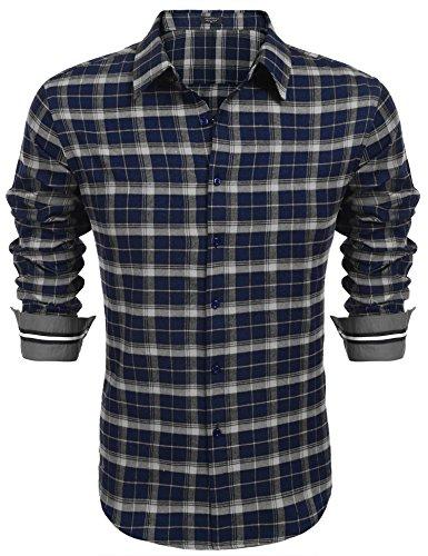 Coofandy Herren Hemd Slim Fit Kariert Freizeithemd Party Club Manschette mit Stickerei Langarmhemd Business Casual bügelleicht Blau XL