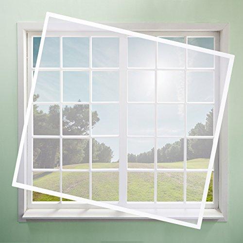 Relaxdays Fliegengitter mit Rahmen, zuschneidbares Netz, Alurahmen, ohne Bohren, Insektenschutz, 100x120 cm, weiß/grau