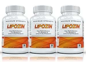 LIPOZIN (3 Bottles) - High Performance Weight Loss Supplement. Best Fat Burning, Appetite Suppressing, Energy Boosting Diet Pills