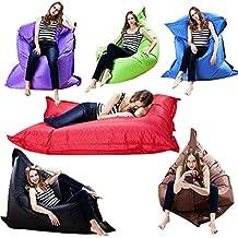 Puf, almohada gigante para interior y exterior, ideal para relajarse, jugar, etc. Con doble cremallera oculta, totalmente hermético, se puede rellenar con algodón, espuma e incluso agua, 180x 140cm, morado