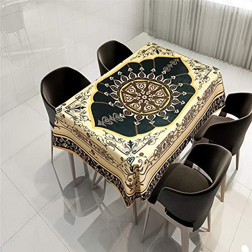 QWEASDZX Tischdecke Mandalas aus Polyestergewebe Digitaldruck Vintage-Dekoration Tischdecke Rechteckiger Tisch Geeignet für Innen- und Außenbereich Wiederverwendbare Küchentischdecke 150x150cm