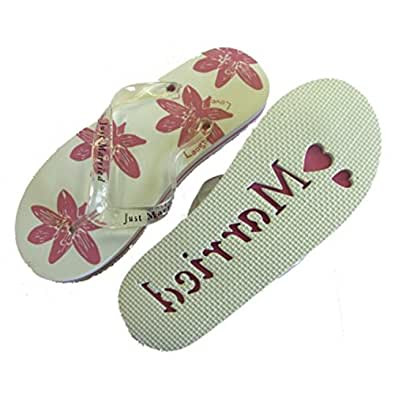 Ladies Just Married Flip Flops - White & Pink - Medium - Size 5-6