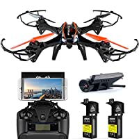 WiFi FPV Drone with 720P HD Camera - UDI U842 Predator - RC Quadcopter with Headless Mode and Low Voltage Alarm - 2 Batteries 4GB TF Card by UDI/RC