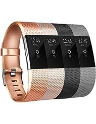 Tobfit Armband Für Fitbit Charge 2 Weiches TPU Ersetzbar Armbänder Fitness Verstellbares für Fitbit Charge 2