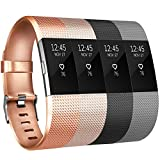Tobfit Fitbit Charge 2 Armband Weiches TPU Ersetzer Armbänder Fitness Verstellbares für Fitbit Charge 2 (&4-Pack Champagner Gold+Rose Gold+Schwarz+Grau, Small)