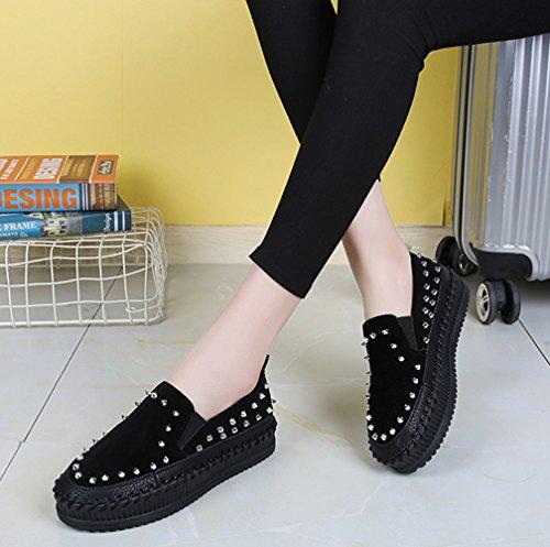 Damen Moderne Low-Top Faul Schuhe Niete Rund Zehen Anti-Rutsch Gummi Sohle Freizeit Schuhe Schwarz