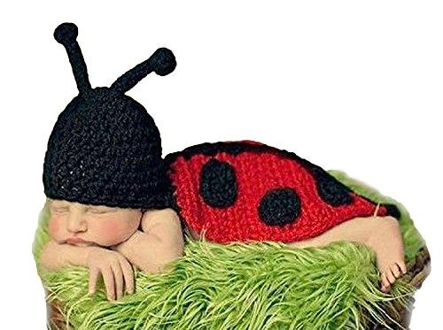 Baby Häkelkostüm Strick Kostüm Fotoshooting Fotos Marienkäfer Ladybug ()