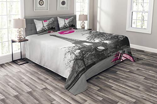 ABAKUHAUS Paris Tagesdecke Set, Romantische Stadt und EIN Kuss, Set mit Kissenbezügen farbfester Digitaldruck, für Doppelbetten 220 x 220 cm, Schwarz-weiß-pink