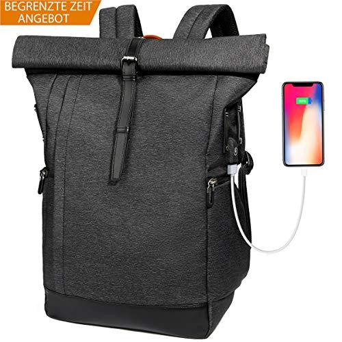 Laptop Rucksack Damen Herren, Roll Top Rucksack mit USB fur 15.6 Zoll Notebook, Anti-Theft Tasche Daypack Mode Rucksack Frauen, Wasserabwei...