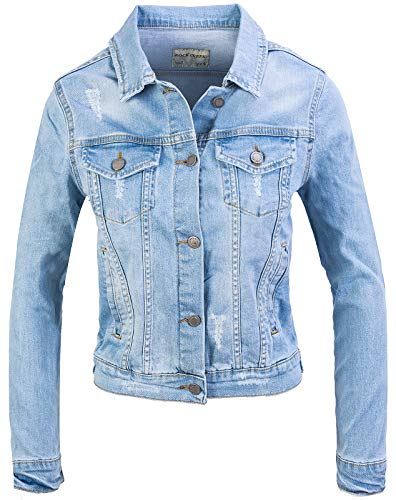 Rock Creek Damen Jeans Jacke Übergangs Jacke Denim Blouson Stretch Kurz Classic Jeansjacken Urban Stonewash D-401 Hellblau XS Urban Denim Jacke