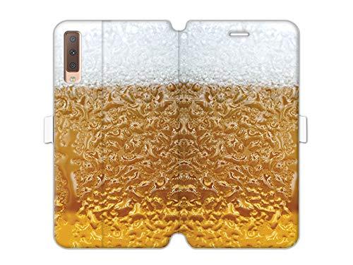 etuo Handyhülle für Samsung Galaxy A7 (2018) - Hülle Wallet Book Fantastic - Bier mit Schaum - Handyhülle Schutzhülle Etui Case Cover Tasche für Handy
