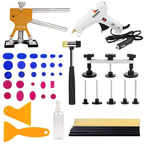 Lucasng 51 pezzi kit di strumenti per paintless dent repair versione b, per riparazione di ammaccature da grandine,strumento ponte,strumento estrattore
