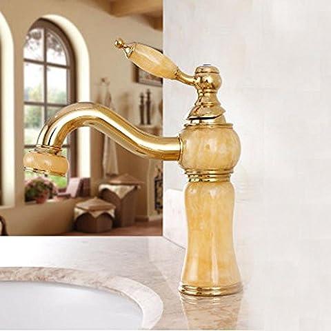 YanCui@ Hogar y cocina Baño Grifos de lavabo Grifo del lavabo de oro antiguo europeo cobre natural jade y dorado caliente y frío mármol lavado ,