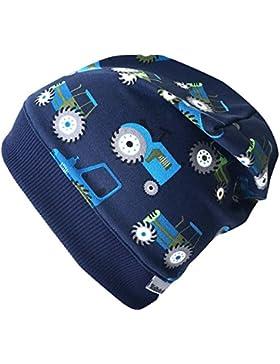 Wollhuhn Leichte Beanie-Mütze TRECKER/Traktor in dunkelblau mit dunkelblauem Bündchen, für Jungen und Mädchen,...