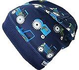 WOLLHUHN Beanie-Mütze TRECKER / TRAKTOR in dunkelblau mit dunkelblauem Bündchen, für Jungen und Mädchen, 20170814, Größe XXS: KU 36/40 (bis ca 6 Mon.)