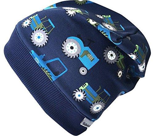 Team Jersey-schal (Wollhuhn Beanie-Mütze TRECKER/Traktor in dunkelblau mit dunkelblauem Bündchen, für Jungen und Mädchen, 20170814, Größe L: KU ab 54 (darüber/Erwachsene))