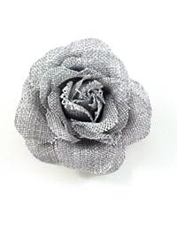 rougecaramel - Accessoires cheveux - Broche fleur mariage ou pince cheveux en sisal - gris