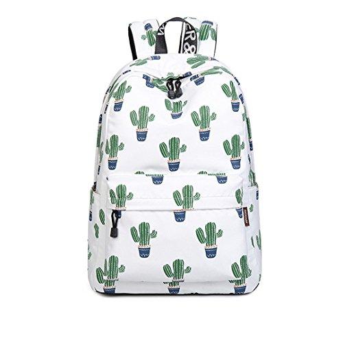 (Mode Kawaii Flamingo Und Kaktus Druck Rucksack Frischen Rucksack Rucksack Schultaschen Für Teenager Mädchen & Jungen White 30.5cmX13.5cmX42.5cm)