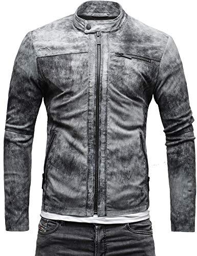 CRONE Epic Herren Lederjacke Cleane Leichte Basic Jacke aus weichem Schafs-Leder (L, Vintage Grau (Wildleder)) - 3