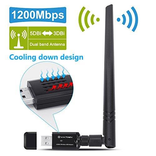 【Nouvelle Version】Adaptateur USB Wifi Dongle 1200Mbps, Clé Wifi USB YATWIN 802.11ac Dual Band 5G/867Mbps + 2.4G/ 300Mbps Adaptateur Réseau Sans Fil USB Wi-Fi Dongle USB avec Antenne 5dBi Win Vista, Win 7, Win 8.1, Win 10, Mac OS X 10.9-10.12.4.4