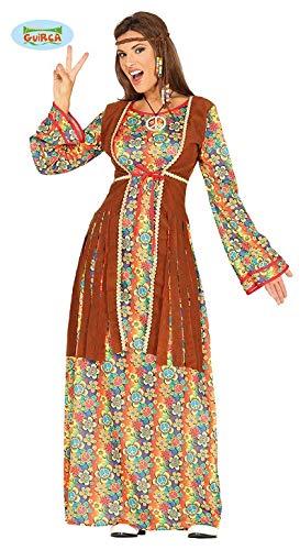 Happy Hippie Kostüm Damenkostüm 70er Jahre Motto Party Kleid Karneval Gr. M-L, Größe:M