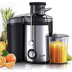 Joerid Extracteur de jus pour fruits et légumes, Centrifugeuse avec brosse de nettoyage et réservoir de jus 65 mm de large et double vitesse en acier inoxydable avec design anti-goutte sans BPA