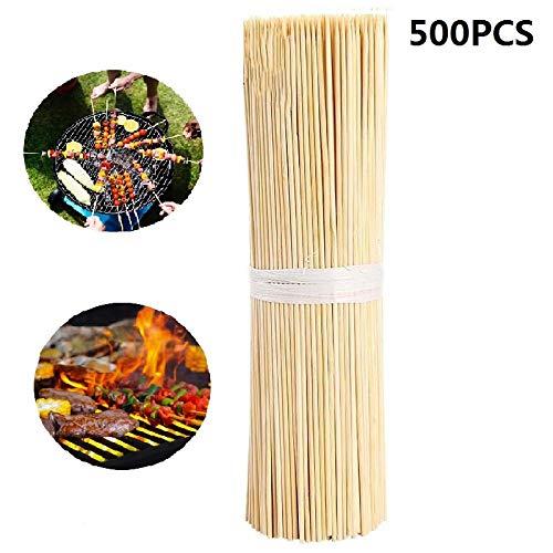 VCHGVCT 30 cm Bambus-Holzspieße, ideal für BBQ, Kebabs, Obst, Schokoladenfontänen & Fondues, BBQ-Spieße (500er-Set)