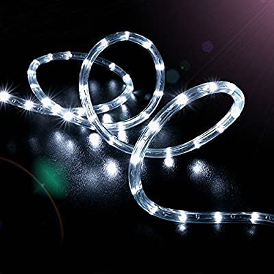 KINGCOO 100 LEDs Solar Rope String Lights, Waterproof 39ft/12M Copper Wire Outdoor Tube Fairy String Lights for Christmas Garden Yard Path Fence Tree Backyard