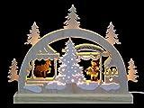Mini LED Schwibbogen - Weihnachtsmarkt - 23 x 15 x 4,5 cm - Original Erzgebirge Schwibbögen - Michael Müller