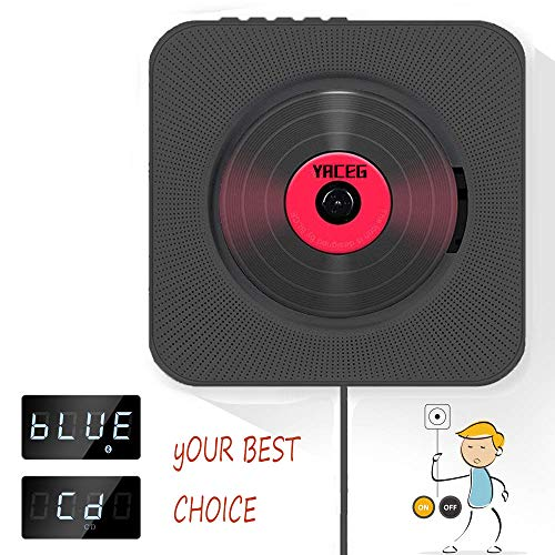 CD Player Wall Mountable Bluetooth Home Audio Remote Control Built-in HiFi Speakers USB MP3 3.5mm Headphone Jack Aux Input/Output (Black)