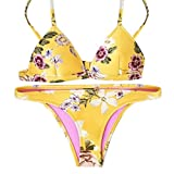 Damen Bikini-Set Internet Push-up gepolsterte BH Bikini Set Badeanzug Beachwear (S, gelb)