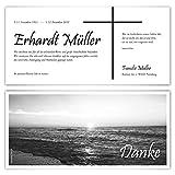 80 x Trauer Dankeskarten Danksagung Danksagungskarten Trauerkarten individuell - Schwarz-Weiß Sonnenaufgang