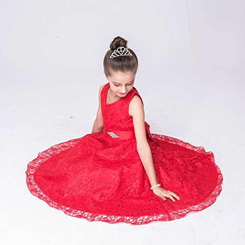 Wulide Kinder Mädchen Abendkleid Spitzenkleid Festkleid Ärmellos, Rot,...