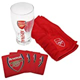 Arsenal FC Official Wordmark Mini Football Bar Set (Pint Glass, Towel & Beer Mats)