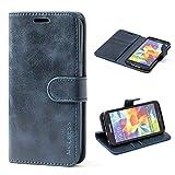 Mulbess Ledertasche im Ständer Book Case / Kartenfach für Samsung Galaxy S5 / S5 Neo Tasche Hülle Leder Etui,Dunkelblau