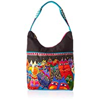 Laurel Burch Medium Scoop Tote Zipper Top 14-inch by 3, 1/2-inch by 12, 1/4-inch, Fantasticats