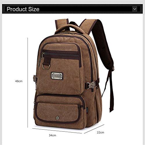 Ranbow Zaino multiuso della tela cotone lavato escursionismo Daypack 15 'Laptop Ipad Borsa, Nero caffè