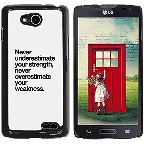 YOYOYO Smartphone Protección Defender Duro Negro Funda Imagen Diseño Carcasa Tapa Case Skin Cover Para LG OPTIMUS L90 D415 - fortaleza texto debilidad inspirador
