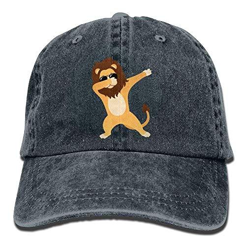 No Soy Como Tu Hüte,Kappen Mützen Dabbing Lion Sunglasses Denim Hat Adjustable Women's Low Baseball Hat