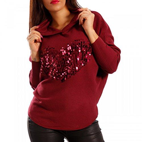 Damen Kapuzen Pullover Herz Pailletten Bordeaux