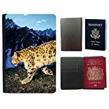 PU Pass Passetui Halter Hülle Schutz // V00003856 Schneeleopard Pirsch // Universal passport leather cover
