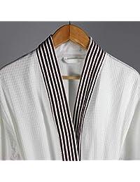 Pajamas Traje de Pijama, algodón con Bolsillos Albornoz, camisón de Manga Larga de algodón Blanco de Verano, Albornoces de salón de Belleza del Hotel Trajes de baño (Manga Larga)