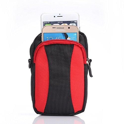 Casio Wasserdicht Kamera (Universal Handy/Smartphone Gürteltasche (15 x 8.5 x 2.5 cm) mit Schlaufe, Karabiner, Tragegurt (130 cm) und Armband (38 cm) Schwarz / Rot)