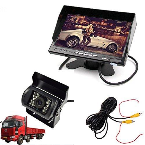 CoCar Auto 12-24V LKW Einparkhilfe 7' TFT LCD Monitor + IR Nachtsicht Wasserdicht Rückfahrkamera Rückfahrsystem Autoparksysteme