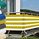Balkon Sichtschutz 5,0x0,9m UV-Schutz - Balkonumspannung mit Befestigung - Windschutz - Gelb-Weiß