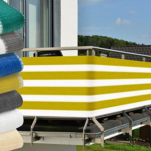 Sol Royal Brise-vue pour balcon Terrasse + fixations SolVision Protection Regards Vent Soleil 5x0.9m - Rayé Jaune