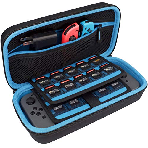 Takecase Tragetasche für Nintendo Switch Konsole, Reise-Schutzhülle, passend für Adapter / Ladegerät und 19 Spielkarten, Hartschale, Zubehörtasche, Tragegriff, Blau / Schwarz -