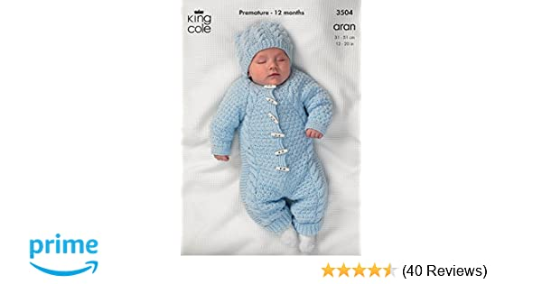 b1bc9f9bd4be King Cole Baby All-In-One Comfort Aran Knitting Pattern 3504 by King ...